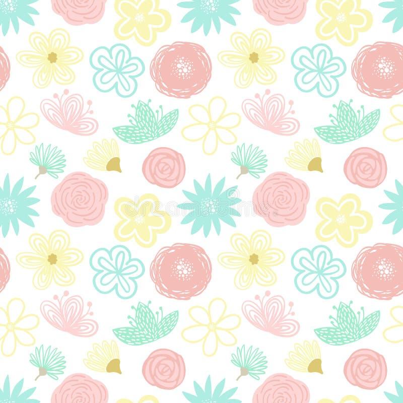 Ein nahtloses Muster von Hand gezeichneten Blumen und von Blüten der Karikatur Illustration in den Pastellfarben für Kleidung, Ve stock abbildung