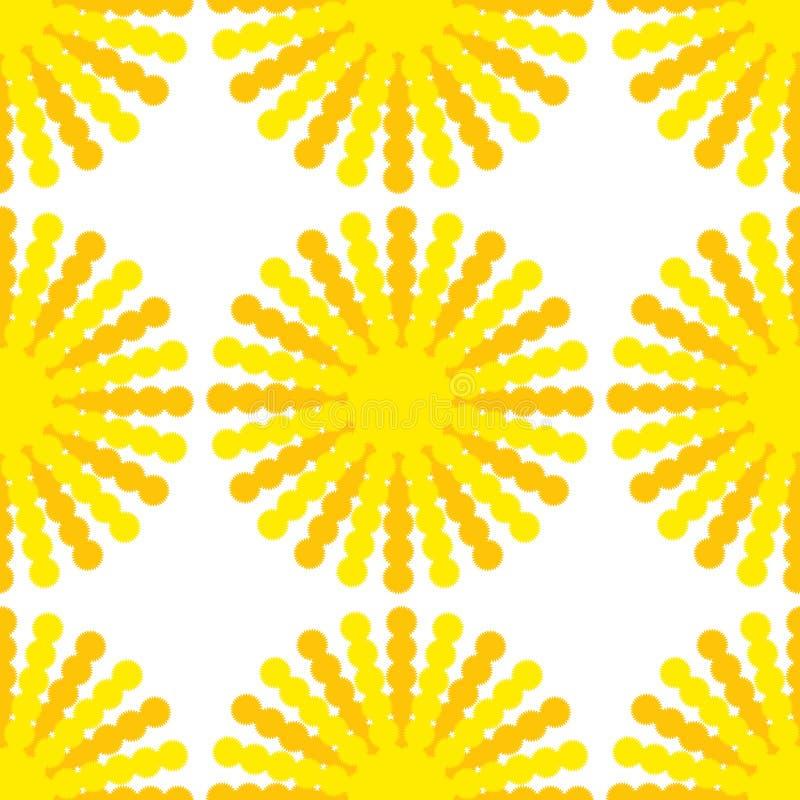 Ein nahtloses Muster von Sonnen mit gelb-orangeen Strahlen auf einem weißen Hintergrund stock abbildung