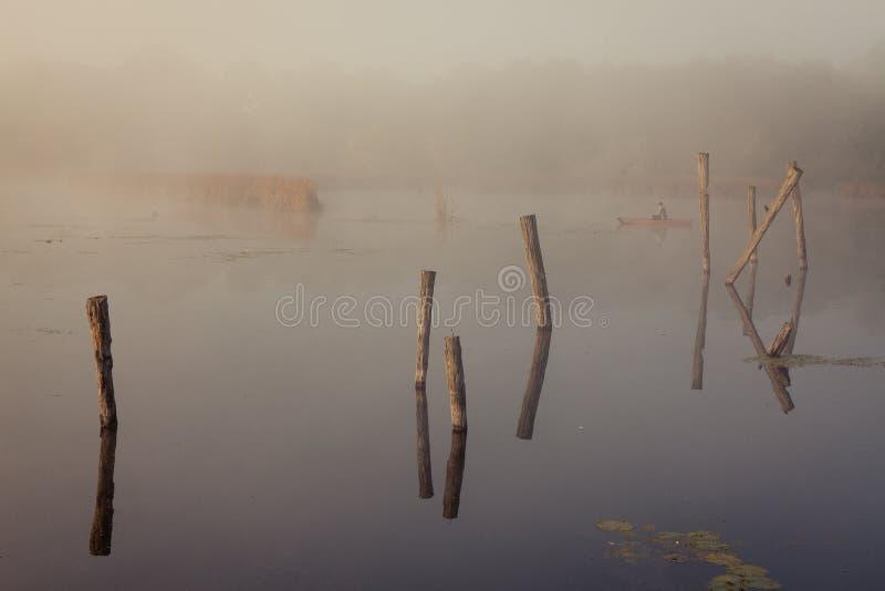 Ein nebelhafter Morgen durch den See Raum für Text lizenzfreie stockfotos