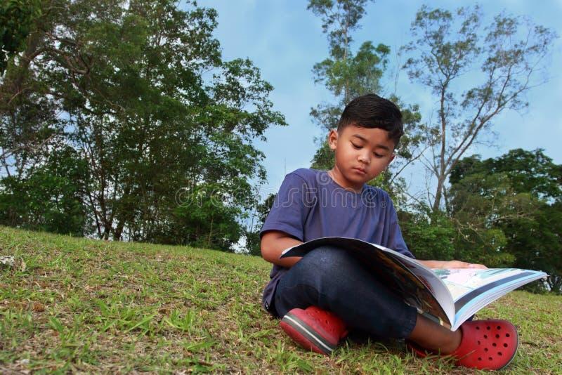 Ein netter Junge, der ernsthaft ein Buch in einem Park liest lizenzfreie stockfotos