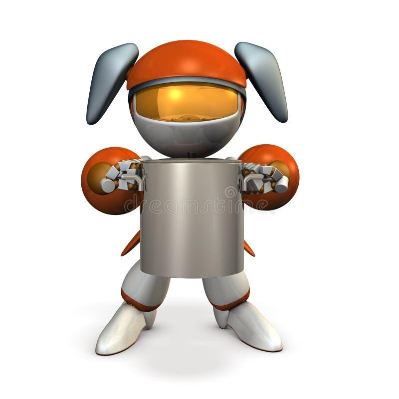 Ein netter Roboter, der einen großen Topf hält Sie ist an den Spezialitätentellern unterhaltsam lizenzfreie abbildung