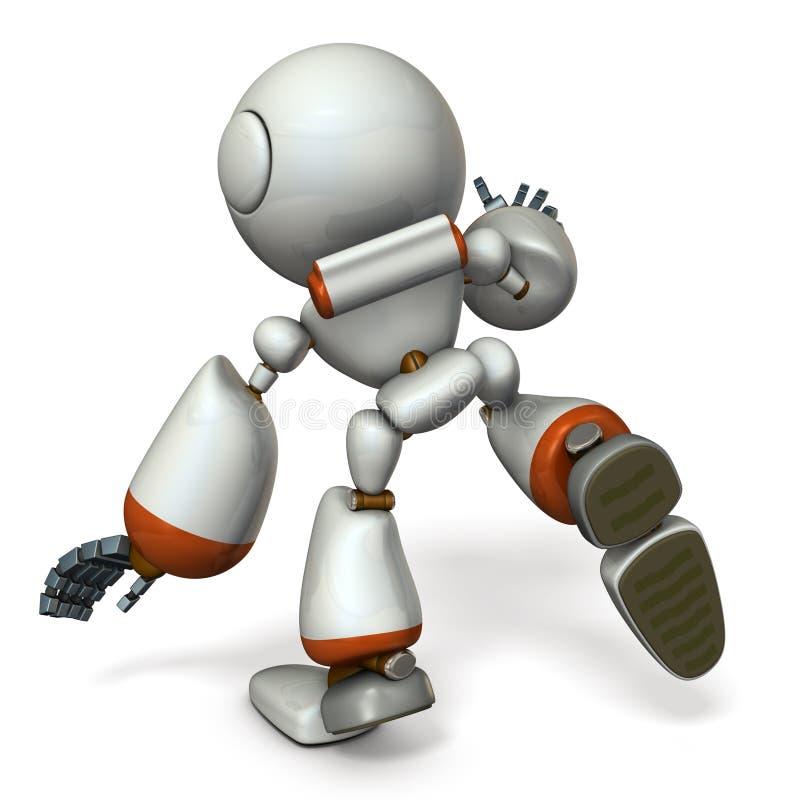 Ein netter Roboter, der etwas folgt Er ist vor dem Fallen lizenzfreie abbildung