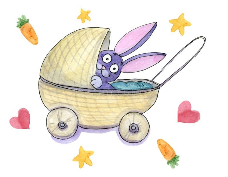 Ein nettes Babykaninchen in einem Pram lizenzfreie abbildung