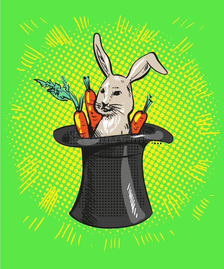 Ein nettes Karikaturmagierhäschen, das aus einen Zylinder mit Karotten herauskommt stock abbildung