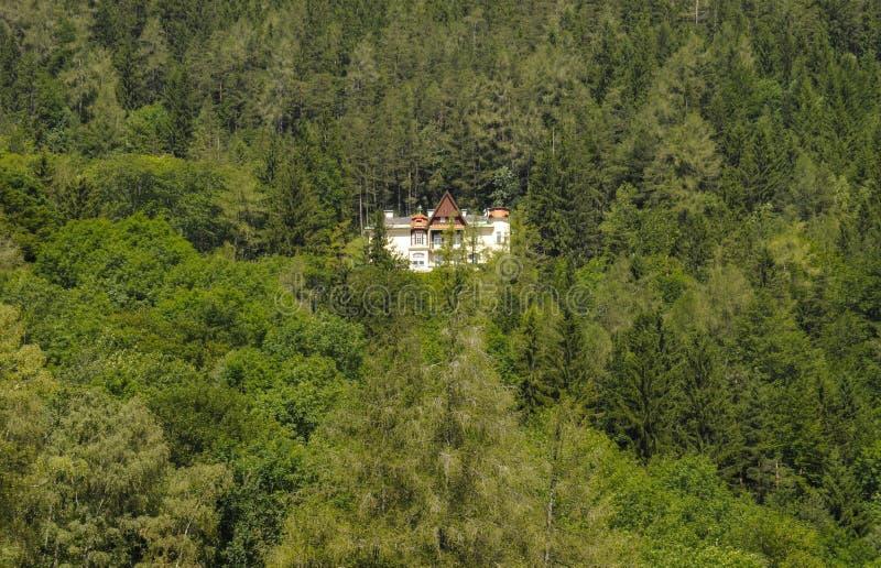 Ein nettes Landhaus innerhalb des Waldes stockfotos