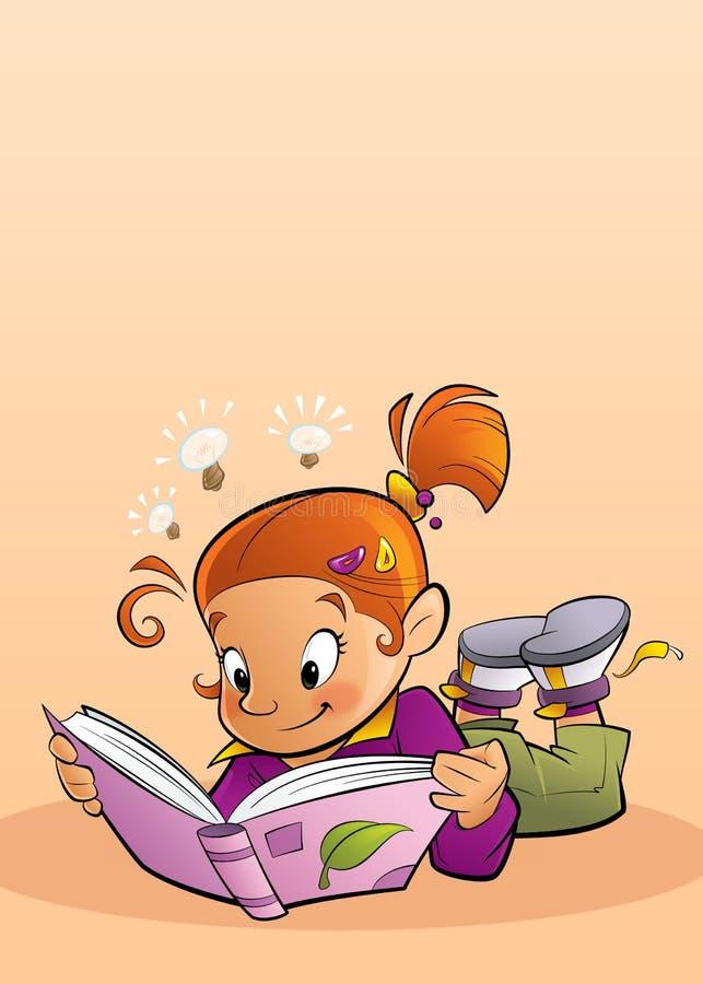 Mädchen, das ein Buch liest stock abbildung