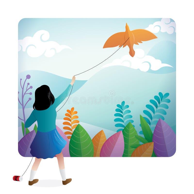 Ein nettes Mädchen, das den Drachen im Freien mit einer schönen Landschaft auf dem Hintergrund spielt vektor abbildung