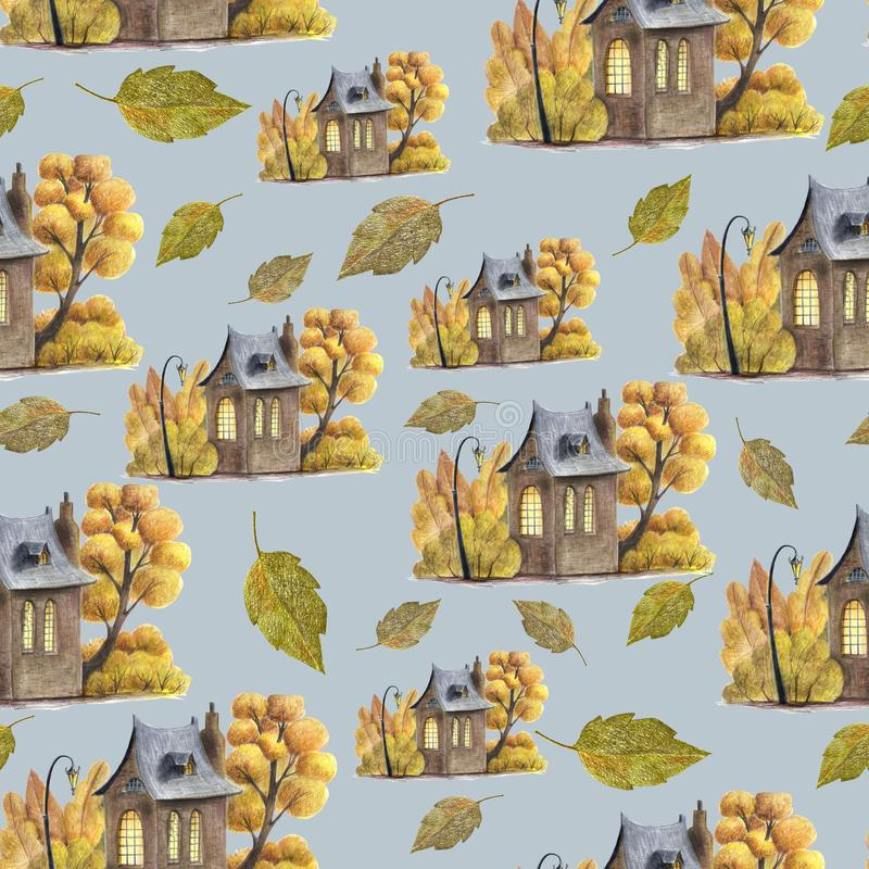 Ein nettes nahtloses Muster mit Herbstlaub und nettem Haus vektor abbildung