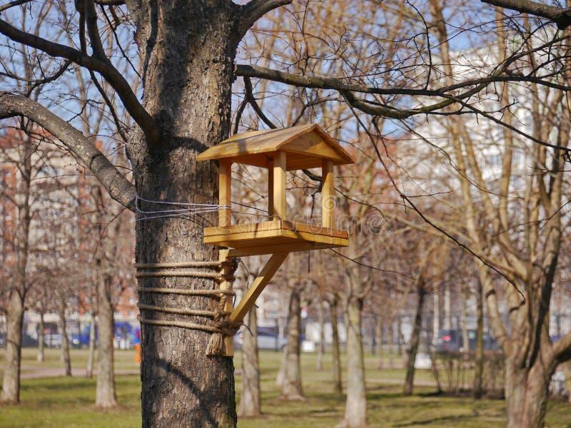 Ein neues hölzernes Vogelhaus auf dem Baum stockfotos