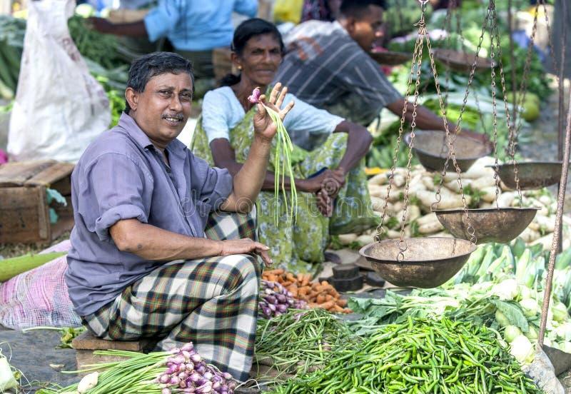 Ein Obst- und Gemüse Verkäufer an einem Straßenrandmarkt nahe Mirissa auf der Südküste von Sri Lanka lizenzfreie stockbilder