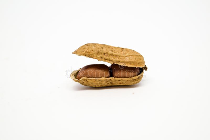 Ein offenes Erdnussoberteil kann Samen nach innen sehen stockfoto