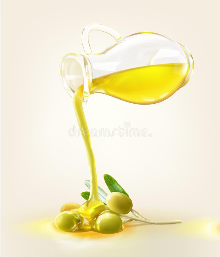 Ein Olivenölkrug gießen auf eine Olive lizenzfreie abbildung