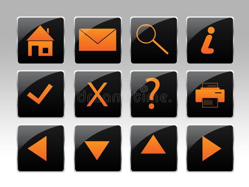 Ein orange Ikonenset vektor abbildung