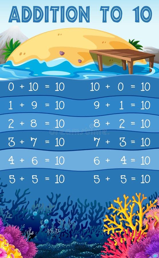 Ein pädagogischer Mathe-Zusatz bis 10 stock abbildung