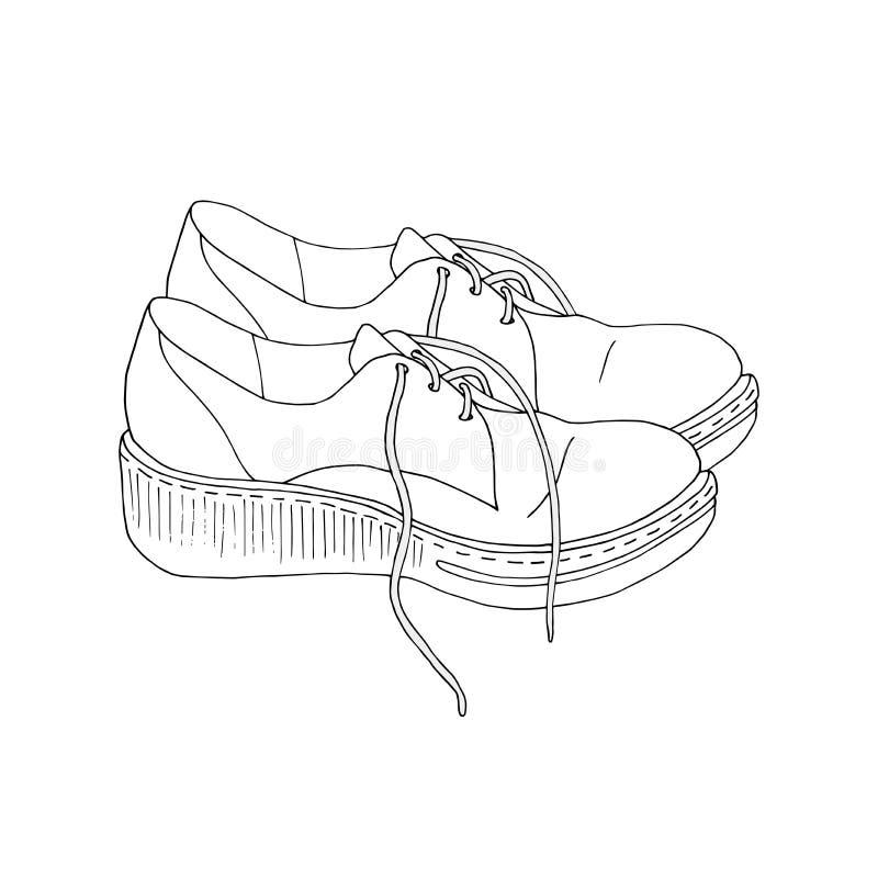 Ein Paar bequeme gehende Schuhe mit ungebundenen Spitzeen stockfotos
