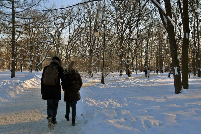 Ein Paar geht in einen allgemeinen Park Winterbäume schneebedeckt Russischer Winter Farbfoto stockfotografie