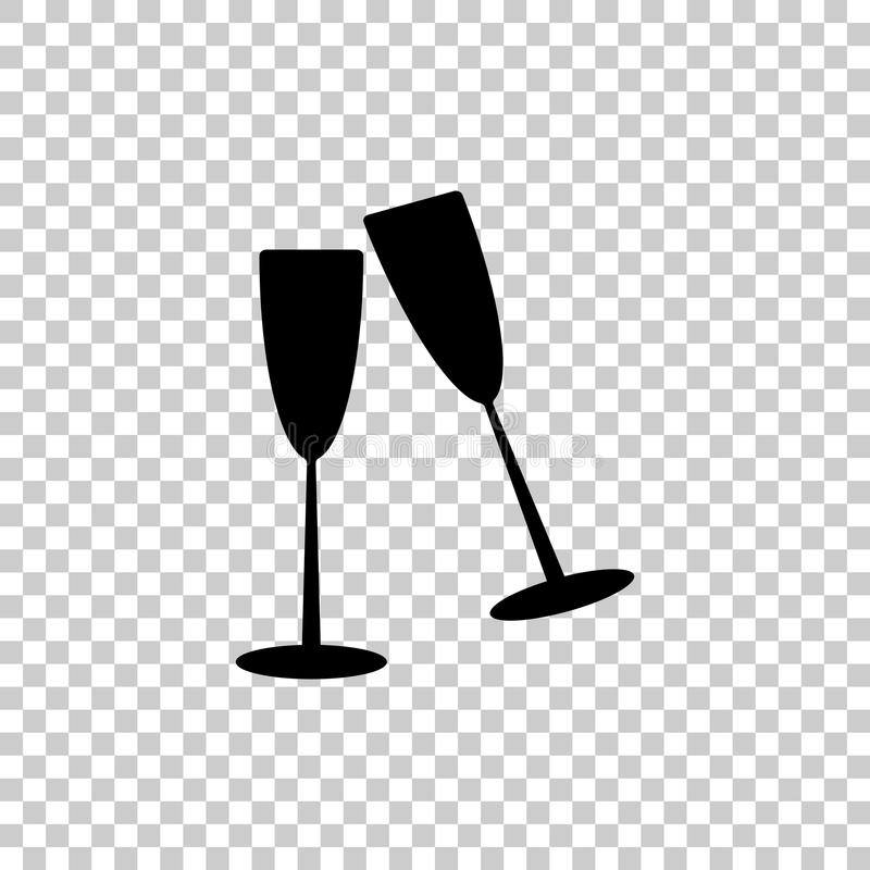 Ein Paar Glasbecher Champagne in einem Glas Vektorikone illu vektor abbildung