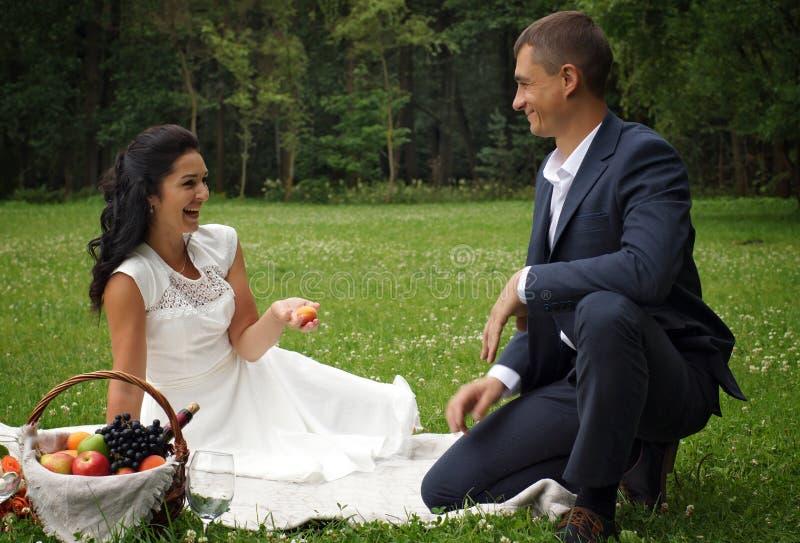 Ein paar junge Leute feiern eine Hochzeit in einem Park auf einem Picknick mit Wein und Früchten, Lachen und bewundern sich lizenzfreies stockbild
