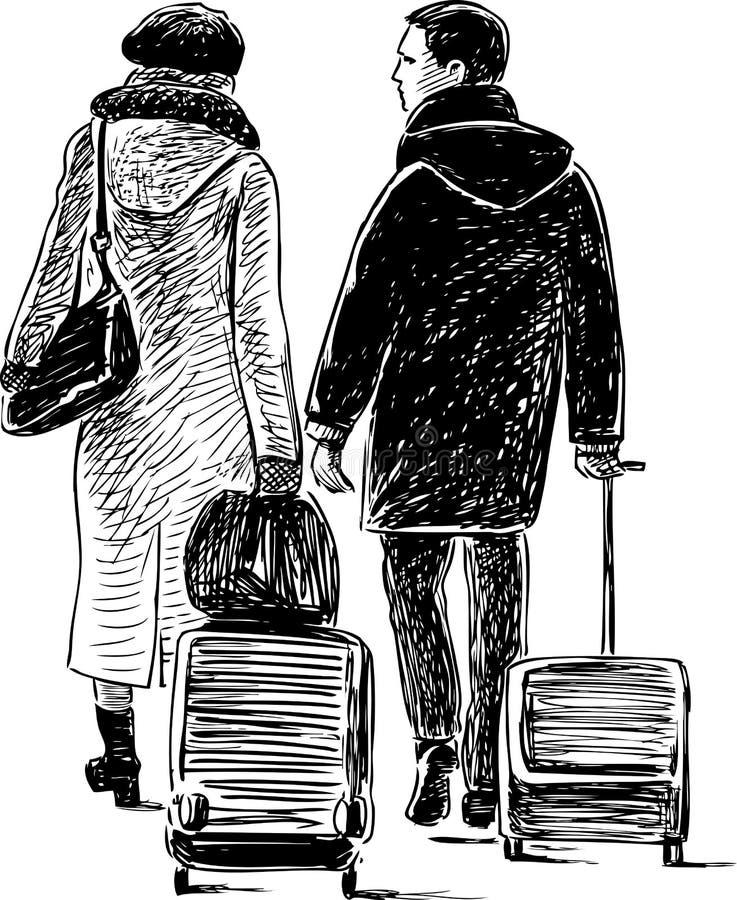 Download Ein Paar Mit Den Koffern In Einer Reise Vektor Abbildung - Illustration von stadt, real: 106803073