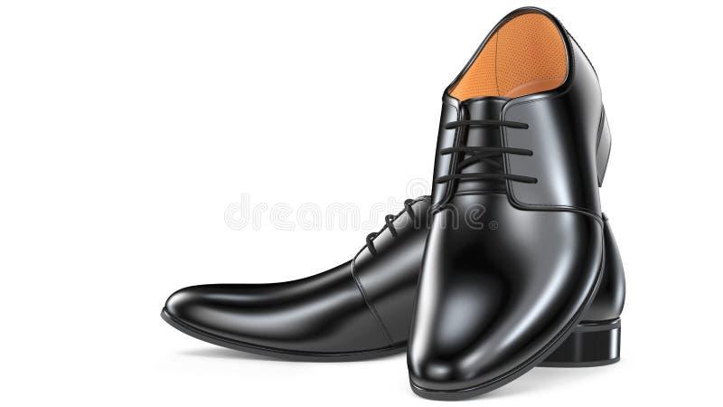 Ein Paar ` s schwarze Männer der Mode elegante Schuhe 3d übertragen von den ledernen männlichen Stiefeln, die auf weißem Hintergr vektor abbildung