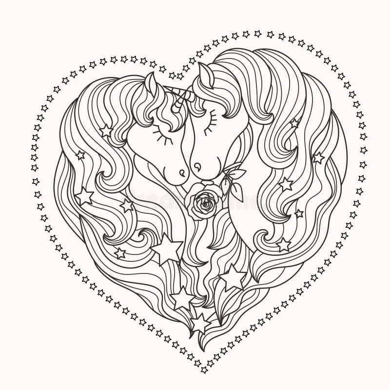 Ein Paar schöne Einhörner mit einer langen Mähne Rebecca 6 Vektor vektor abbildung