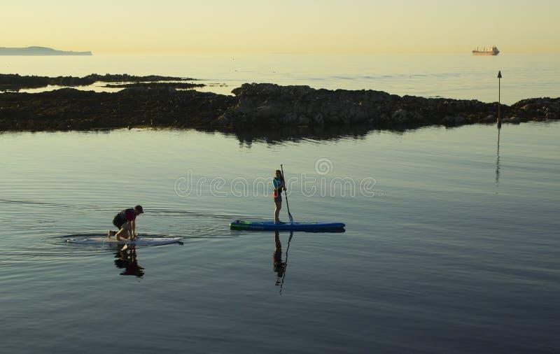 Ein Paar schaufeln langsam ihre Brandungsbretter im ruhigen See an Groomsport-Hafen nahe Bangor Nordirland stockfoto