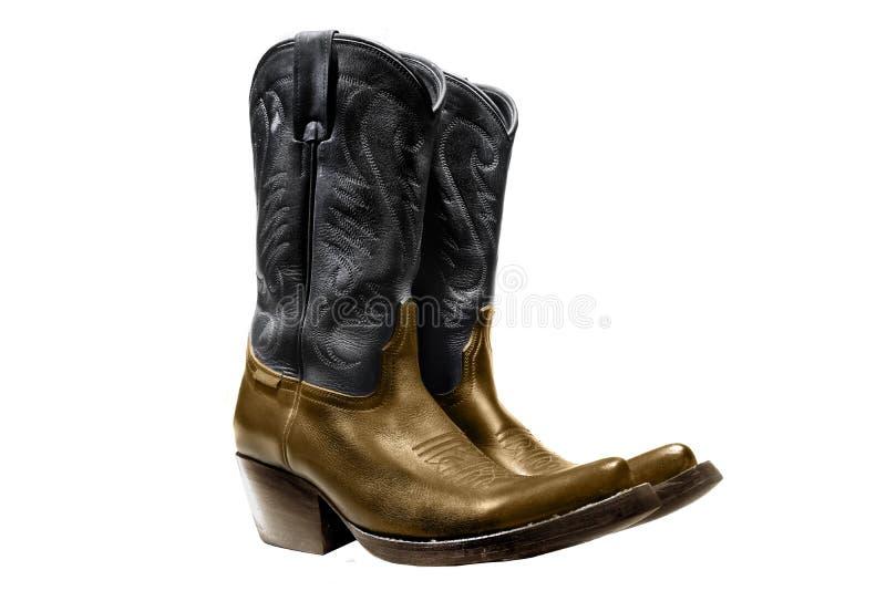 Ein Paar Stiefel hergestellt vom Leder, vom Schwarzen und von der Goldfarbe lizenzfreies stockfoto