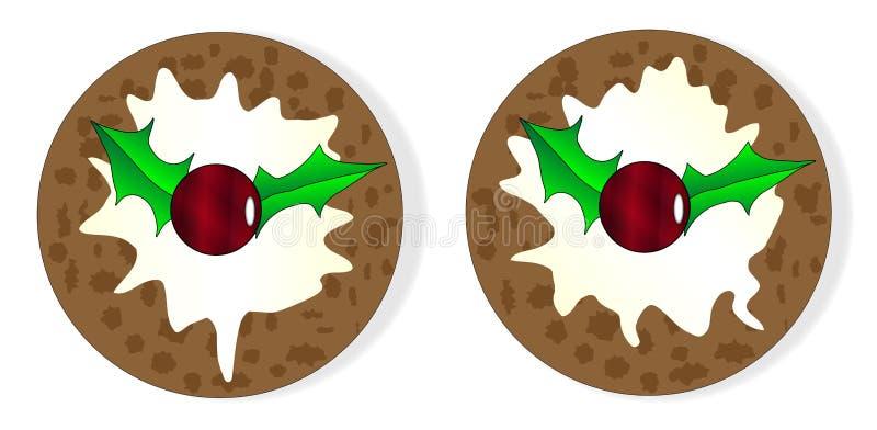 Ein Paar von Plum Puddings With Cream lizenzfreie abbildung