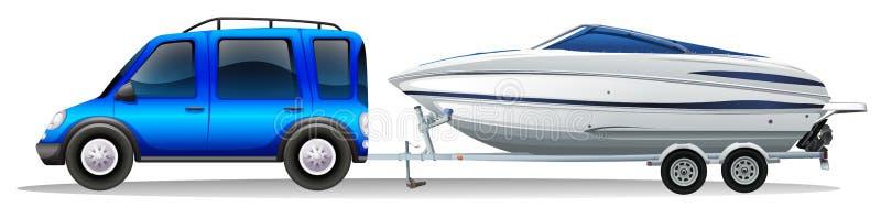 Ein Packwagen und ein Boot stock abbildung