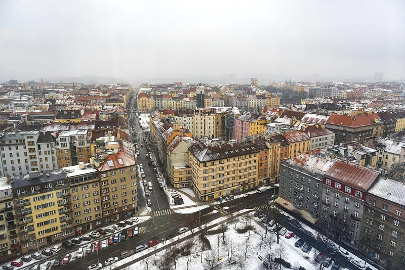 Ein Panoramablick von Prag-Skylinen stockbild