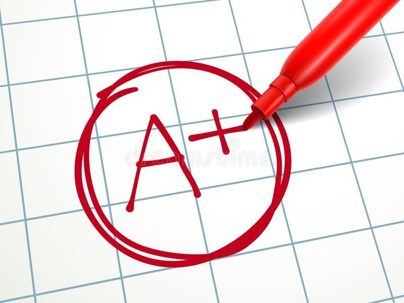 Ein Papier ist geordnetes a-Plus mit rotem Stift lizenzfreie abbildung