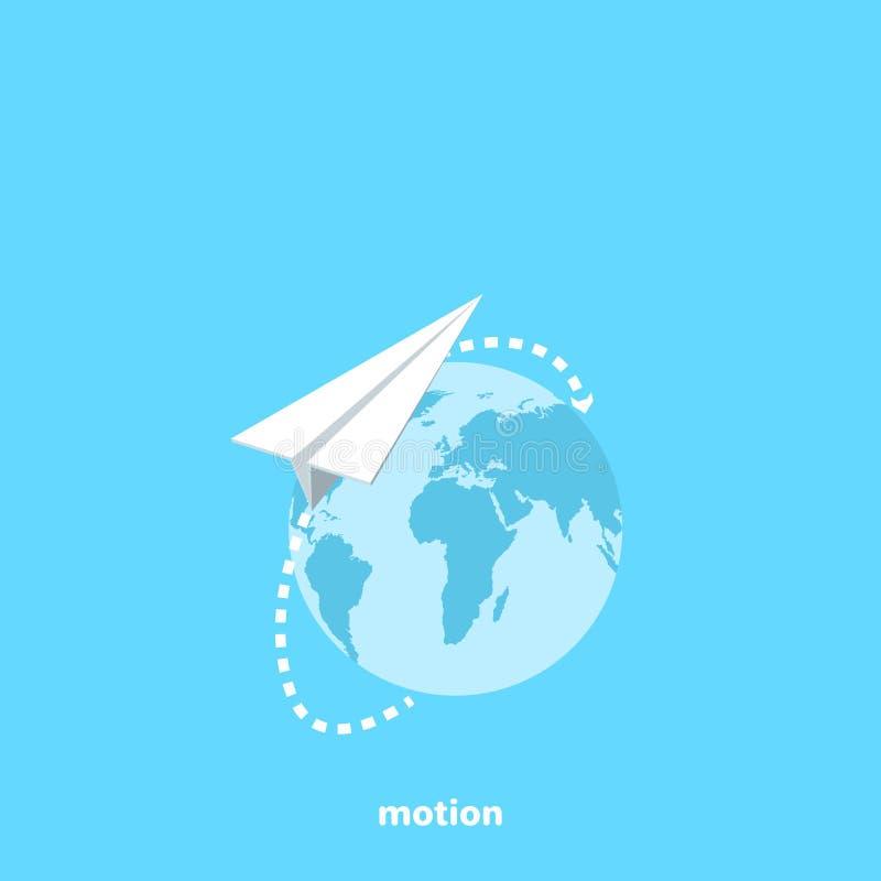 Ein Papierflugzeug fliegt in seine Flugbahn rund um den Globus lizenzfreie abbildung