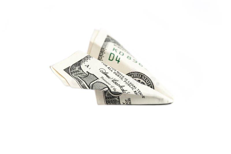 Ein Papierflugzeug hergestellt von einer Rechnung von hundert Dollar stockfotografie