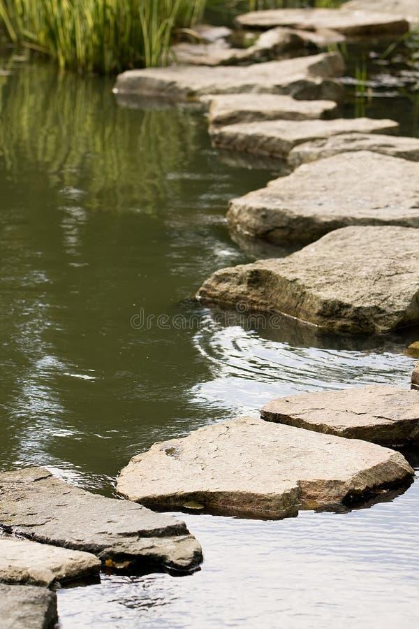 Ein Pfad von den nassen Steinen lizenzfreie stockbilder