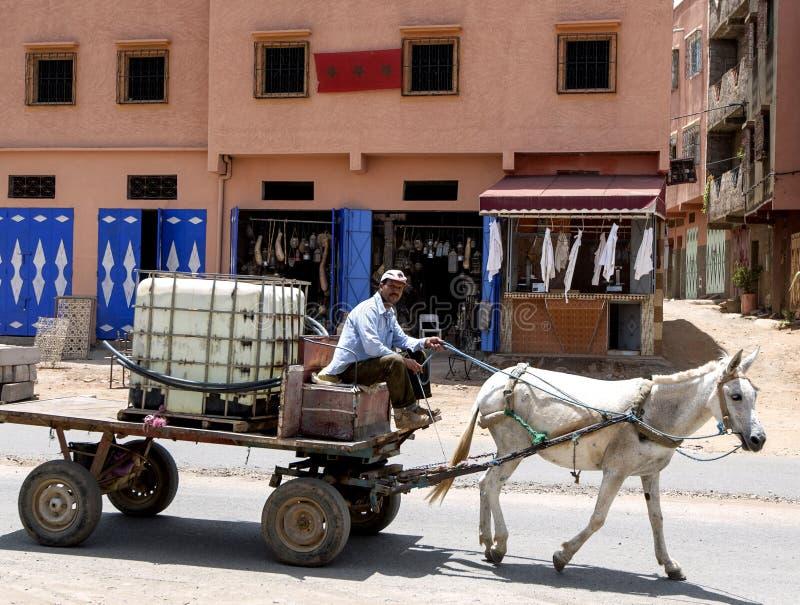 Ein Pferd und ein Warenkorb, die hinunter die Straße in den Antiatlasbergen, Marokko reiten stockbilder