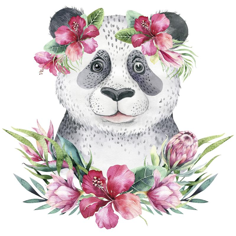 Ein Plakat mit einem Babypanda Aquarellkarikatur-Pandatropische Tierillustration Exotischer Sommerdruck des Dschungels stock abbildung