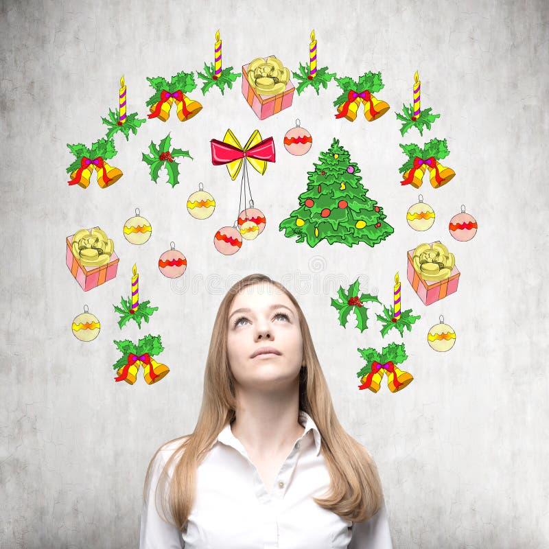 Ein Porträt einer schönen Dame, die Weihnachten und auf den Silvesterabend wartet vektor abbildung