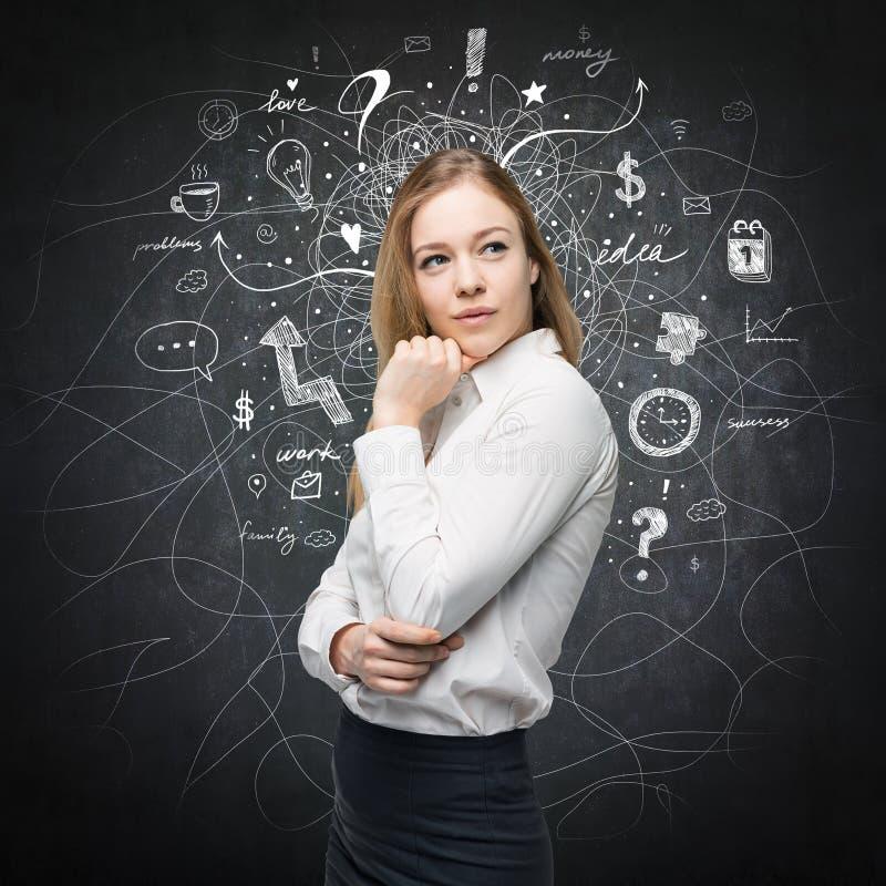 Ein Porträt einer schönen Dame mit Ausfragenausdruck, der die beste Lösung nach dem geschäftlichen Problem sucht stockbild
