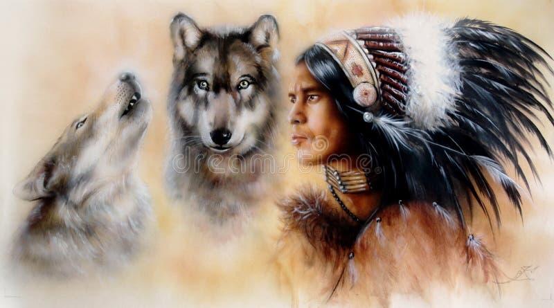 Ein Porträt eines jungen courrageous indischen Kriegers mit einem Paar Wölfen lizenzfreie abbildung