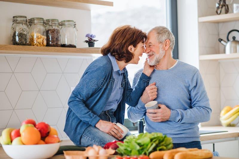 Ein Portr?t von ?lteren Paaren in der Liebe zuhause zu Hause, lachend lizenzfreies stockbild