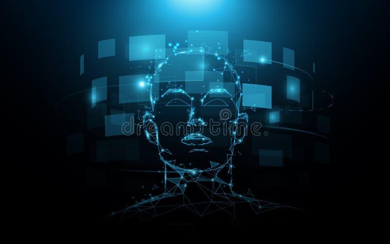 Ein Portrait Head Mensch und digitaler Bildschirm virtuell Künftiges Technologiekonzept lizenzfreie abbildung