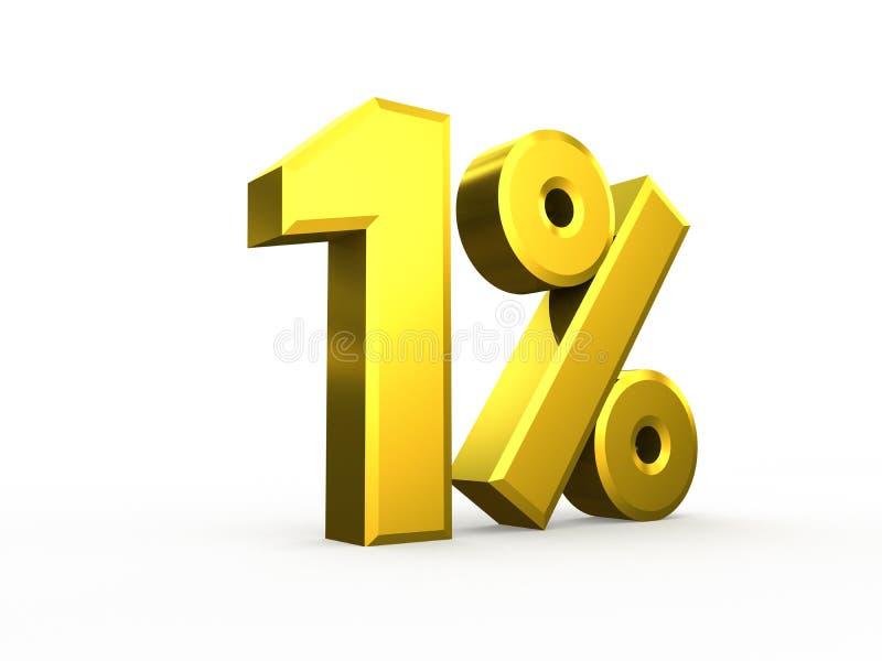 Ein-Prozent-Symbol lokalisiert auf weißem Hintergrund stock abbildung