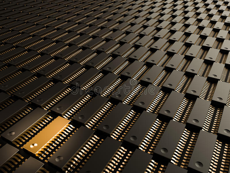 Ein Prozessor (Mikrochip) verband das Erhalten und das Senden von Informationen untereinander Konzept der Technologie und der Zuk lizenzfreie abbildung
