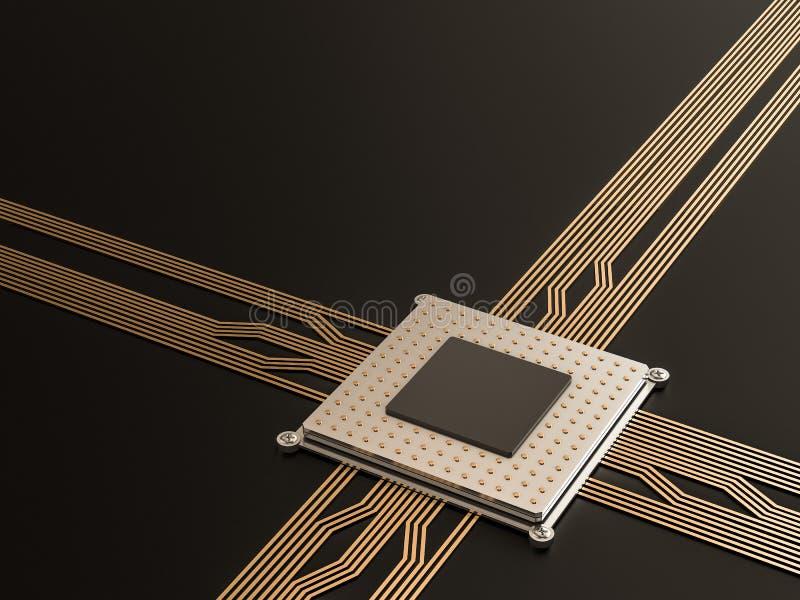 Ein Prozessor (Mikrochip) verband das Erhalten und das Senden von Informationen untereinander Konzept der Technologie und der Zuk stock abbildung