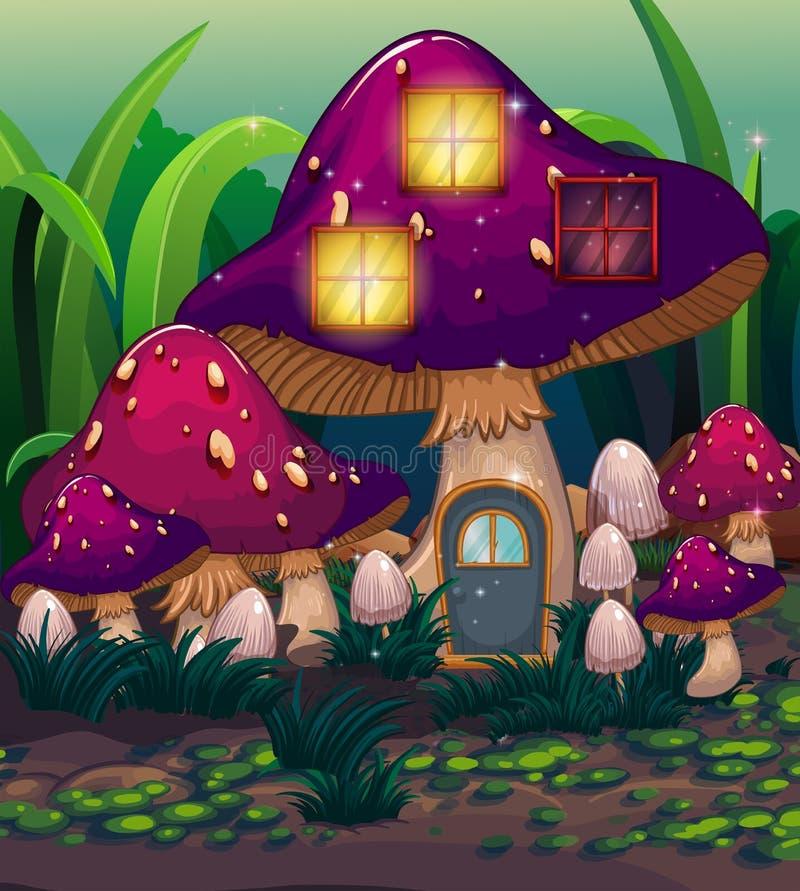 Ein purpurrotes Pilzhaus stock abbildung