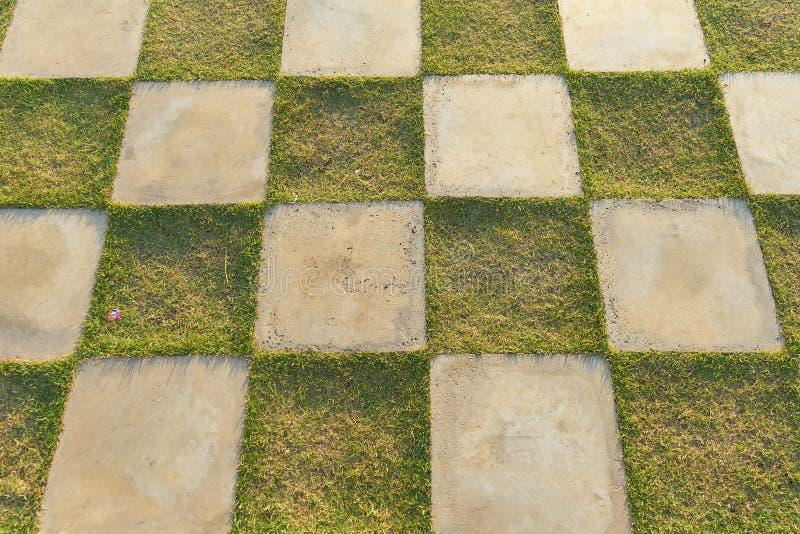 Ein Quadrat des grünen Grases und des weißen konkreten Patios entsteint Quadrat Dekoration in der im Freien, karierter Boden des  lizenzfreie stockfotografie