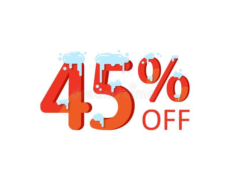 Ein Rabatt von fünfundvierzig Prozent Winter, Weihnachtsverkauf, Zahlen im Schnee lizenzfreie abbildung