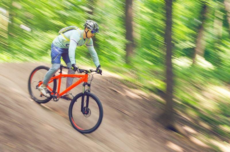 Ein Radfahrer in einem Sturzhelm steigt vom Berg auf einem orange Fahrrad, Bewegungsunschärfe ab lizenzfreie stockfotografie