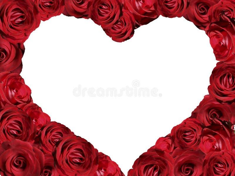 Ein Rahmen von Rosen in Form eines Herzens lizenzfreies stockfoto