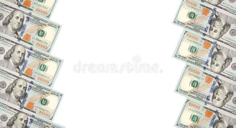 Ein Rahmen von zwei Reihen von Rechnungen von hundert Dollar Weißer Hintergrund auf Mittellinie stockbild